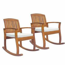 1PC/2PC Acacia Wood Outdoor Rocking Chair Patio Furniture Po