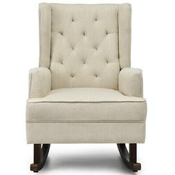 2 in 1 Tufted Rocking Chair Wingback Leisure ArmChair Fabric
