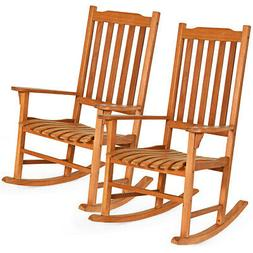 2 Pcs Outdoor Eucalyptus Rocking Chair Simple Style Single R