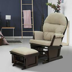 2PC Nursery Glider Rocking Chair with Ottoman Set Suede Foot