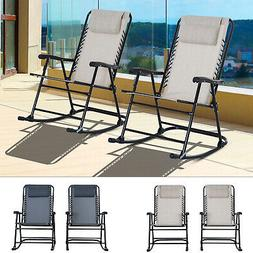 2pc Outdoor Patio Folding Rocking Chair Set Garden Rocker Ch