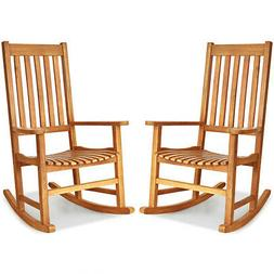 2PCS Wood Rocking Chair Porch Rocker High Back Garden Seat I