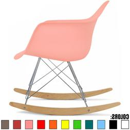2xhome Pink - Eames Style Molded Modern Plastic Armchair Roc