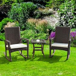 3 PCS Rattan Wicker Patio Furniture Set Coffee Table Rocking