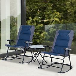 Outsunny 3-Piece Folding Outdoor Rocking Chair Table Set Pat