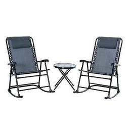 Outsunny 3 Piece Folding Rocking Chair Patio Dining Table Se