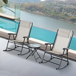 Outsunny 3 Piece Outdoor Rocking Chair Patio Table Seating S