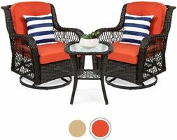 3-Piece Patio Wicker Bistro Furniture Set w/ 2 Cushioned Swi