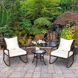 3pc Outdoor Patio Rocking Chair Set Coffee Table Bistro Set