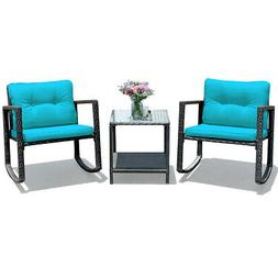 3PCS Patio Rattan Furniture Set Rocking Chairs Cushioned Con