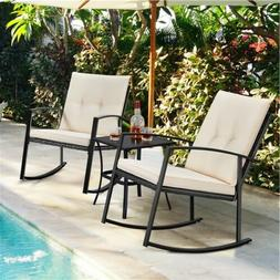 3pcs Wicker Rocking Conversation Set Patio Bistro Furniture