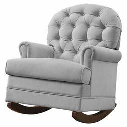 Baby Relax Brielle Button Tufted, Upholstered Rocker/Gray
