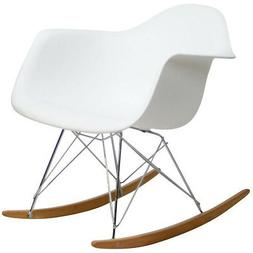 Modway  Rocker Molded Plastic Accent Lounge Chair Rocker Whi