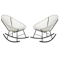 Acapulco Woven Basket Rocking Chair, Set of 2, White