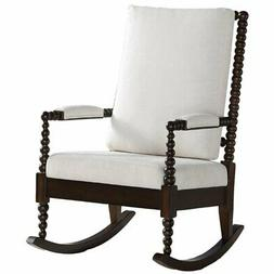 ACME Tristin Rocking Chair in Cream Fabric and Walnut