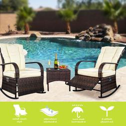 Adjustable Patio Wicker Rocking Chair Set,Reclining chair,2C