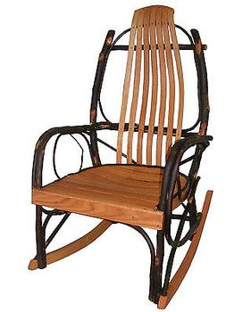 Amish Bentwood Rustic Hickory and Oak Rocker Rocking Chair