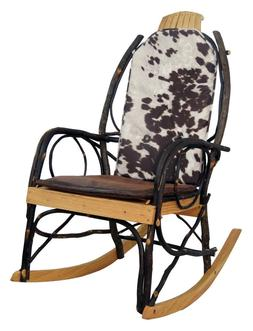 Amish Hickory Rocking Chair Pad Cushion Set in Faux Cow Hide