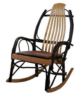 Amish Hickory Rocking Chair Seat Cushion in Distressed Faux
