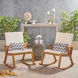 Andy Outdoor Acacia Wood Rocking Chair with Water-Resistant