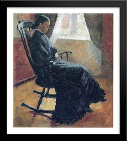 Aunt Karen in the Rocking Chair 28x32 Large Black Wood Frame