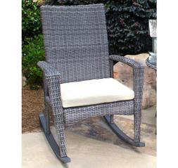 Bayview Patio Rocking Chair with Cushion and Choice of White