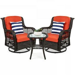 BCP 3-Piece Patio Wicker Bistro Furniture Set w/ 2 Swivel Ro