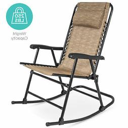 BCP Foldable Zero Gravity Patio Rocking Lounge Chair