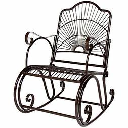 BCP Patio Iron Scroll Porch Rocker Rocking Chair Outdoor Dec