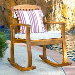 Best Choice Products Outdoor Patio Acacia Wood Rocking Chair