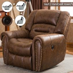Bonded Leather Power Recliner Chair Classic Single Sofa Home