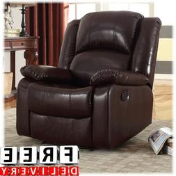 Bonded Leather Rocker Glider Recliner Chair Wall Hugger Blac