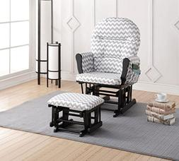 Naomi Home Brisbane Glider Ottoman Set with Cushion in Gray