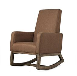 Esright Brown Fabric Rocker Morden Rocking Chair Comfortable