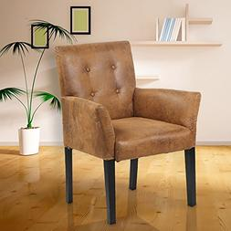 Button-Tufted Upholstered Fabric Arm Accent Chair w/ Pine Wo