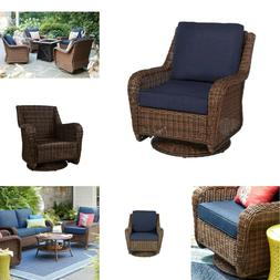 Cambridge Brown Wicker Outdoor Patio Swivel Rocking Chair w/