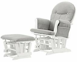 Angel Line Celine Glider and Ottoman, White w/ Gray Cushion