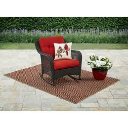 Chair Rocking Furniture for Patio & Garden Wicker w/ Cushion
