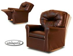 Child Rocking Chair Recliner - Pecan Brown Leather Like