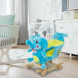 Rocking Horse Plush Rocking Chair with Wheels Cute Pink Bow