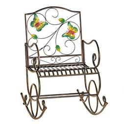 Colorful Butterfly Garden Scrolling Rocking Chair, by Collec