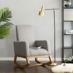 Comfy Fabric Solid Wood Rocking Chair Indoor Furniture Livin