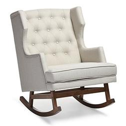 Contemporary Light Beige Fabric Rocking Chair by Baxton Stud