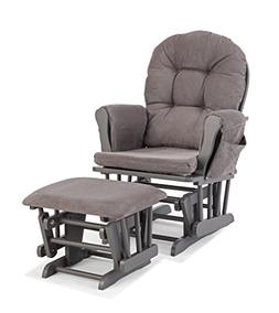Stork Craft Custom Hoop Glider and Ottoman, Gray