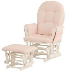 Custom Hoop Glider and Ottoman in White / Pink