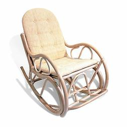 Designer Rocking Chair Rattan w/Cushions Cream Color ONLY LO