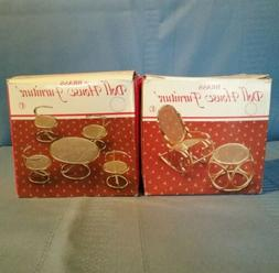 Dollhouse Miniature Brass Table w/ 4 Chairs + Rocking Chair