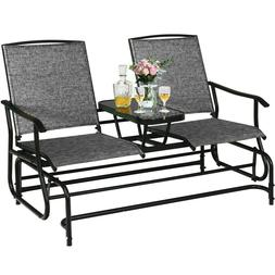 Double Glider Outdoor Patio Rocking Loveseat w Table 2 Perso