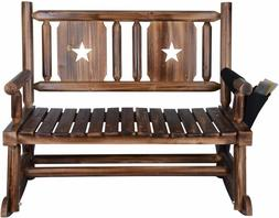 Double Rocking Chair Outdoor Wooden Porch Patio Deck Garden
