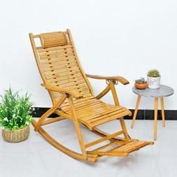 Durable Rocking Leisure Chair Adult Folding Bamboo Living Ro